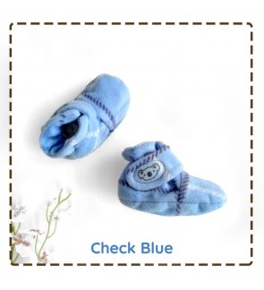 CUDDLE ME FITTED BOOTIES - CHECK BLUE