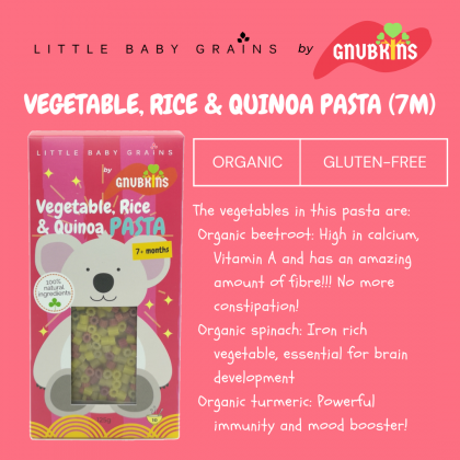 LITTLE BABY GRAINS VEGETABLE, RICE AND QUINOA PASTA 125G (PANDA PINK)