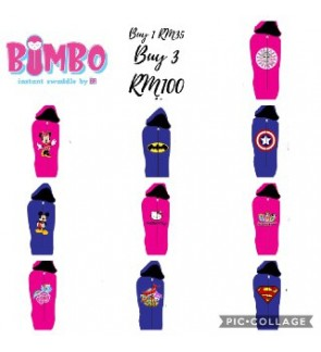 BIMBO INSTANT SWADDLE WITH ZIP AND HOODED (BEDUNG BAYI) | HELLO KITTY, MY LITTLE PONY, MINNIE MOUSE, LOL SURPRISE, POWERPUFF GIRLS, CAPTAIN AMERICA, MICKEY MOUSE, SUPERMAN, SUPER WINGS, BATMAN