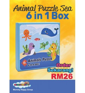 MOMMYHAPPY EDUCATIONAL TOYS - PUZZLE 6 IN 1 BOX | ANIMALS SEA / TRAFFIC
