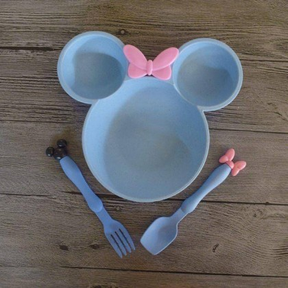 3PCS SET BOWL WITH CUTLERY SET MICKEY MOUSE EDITION
