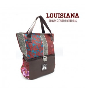 READY STOCK NAIMAX LOUISIANA BROWN FLOWER TOTE COOLERBAG FREE 2 ICE PACK