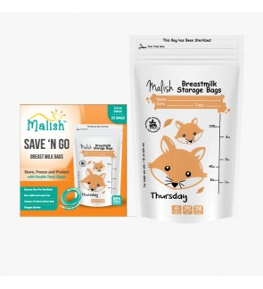 READY STOCK MALISH BREAST MILK STORAGE BAG 3.4OZ FOXIE ORANGE