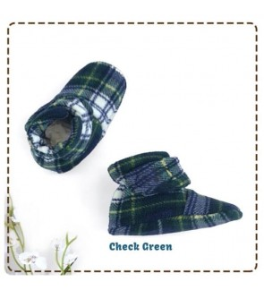 CUDDLE ME FITTED BOOTIES - CHECK GREEN