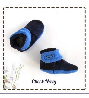 CUDDLE ME FITTED BOOTIES - CHECK NAVY