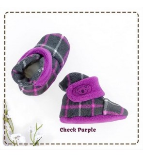 CUDDLE ME FITTED BOOTIES - CHECK PURPLE