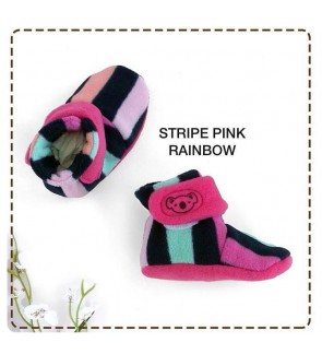 CUDDLE ME FITTED BOOTIES - STRIPE PINK RAINBOW
