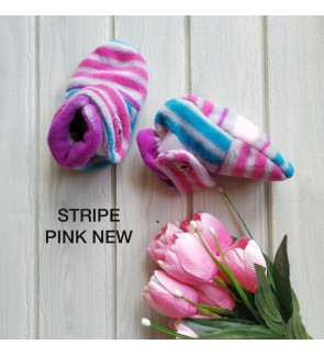 CUDDLE ME FITTED BOOTIES - STRIPE PINK NEW